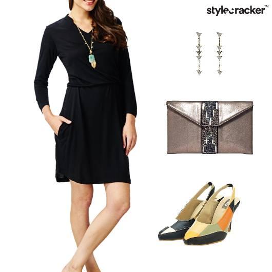 LBD Dress Clutch ColorBlock Footwear  - StyleCracker