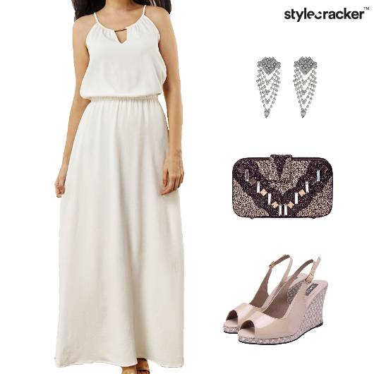 Maxi Dress Wedge Heel Clutch Dinner - StyleCracker