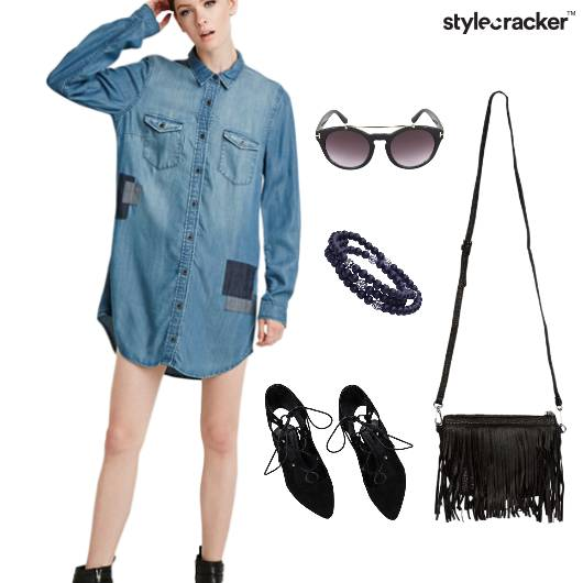 Denim Shirt Dress Fringe Summer - StyleCracker