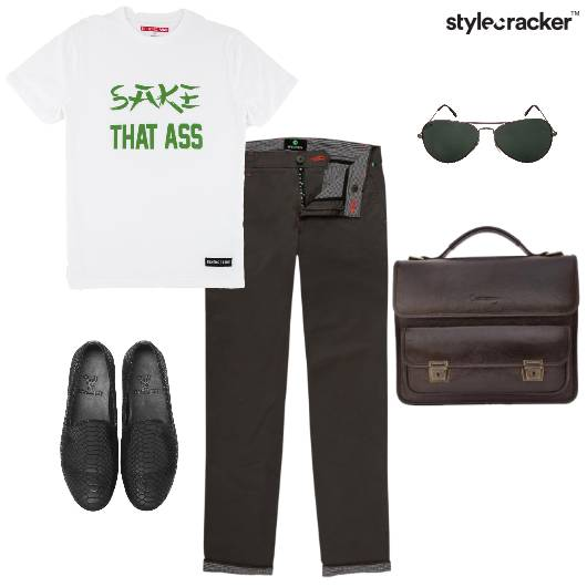 Print TShirt Chinos Casual Work  - StyleCracker