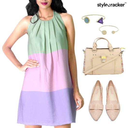 ColorBlock Dress Ballet Flats Lunch - StyleCracker
