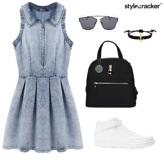 Denim Collar Skater Dress Sneakers Summer - StyleCracker