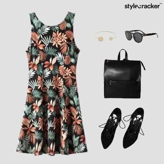 Floral Print Dress TieUp Footwear Backpack - StyleCracker