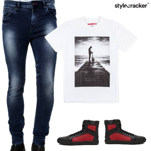 Print Tshirt Jeans HighTops Casual Basic - StyleCracker