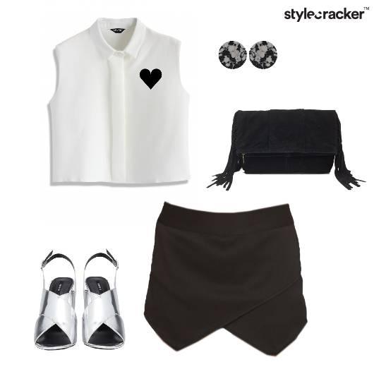 Skort Shirt Metallic Clutch Marble  - StyleCracker