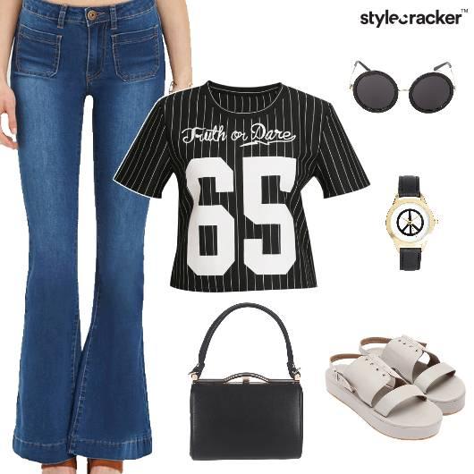 Flared Pants Stripe Top Casual - StyleCracker