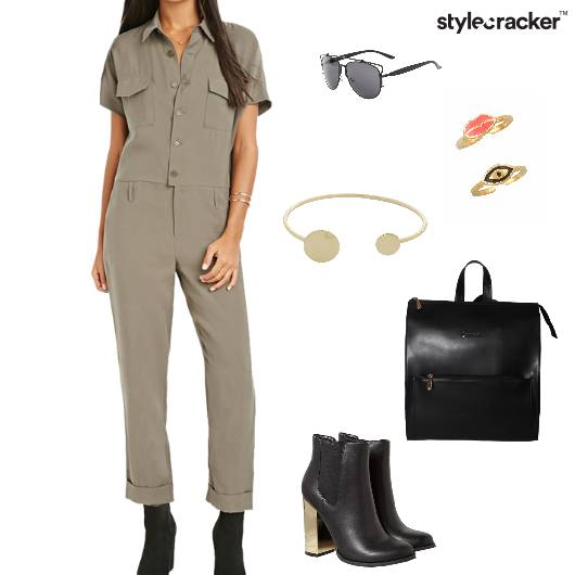 jumpsuit Boots Backpack Summer Olive - StyleCracker