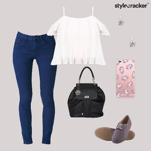 Coldshoulder Top Jeans Backpack Oxfords Casual - StyleCracker