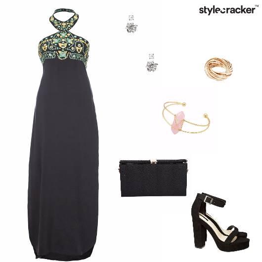 Maxidress Blockheels Clutch Party - StyleCracker