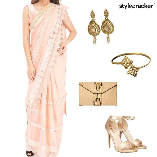 Saree Heels Clutch Earrings Indian - StyleCracker