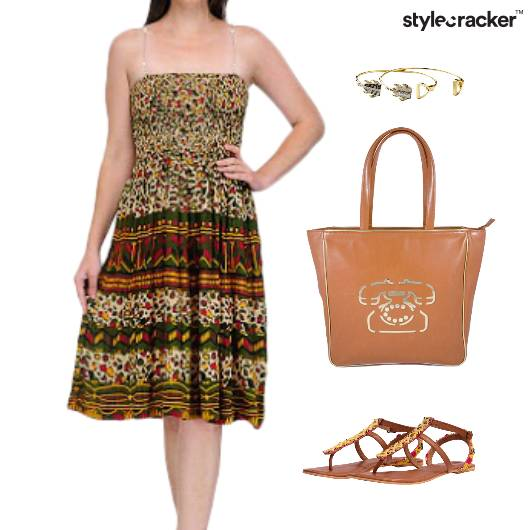 Printed Dress Flats Tote Bag Lunch - StyleCracker