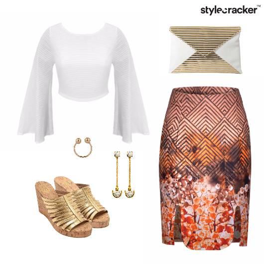 Printed Skirt Wedge Heel Footwear Clutch - StyleCracker