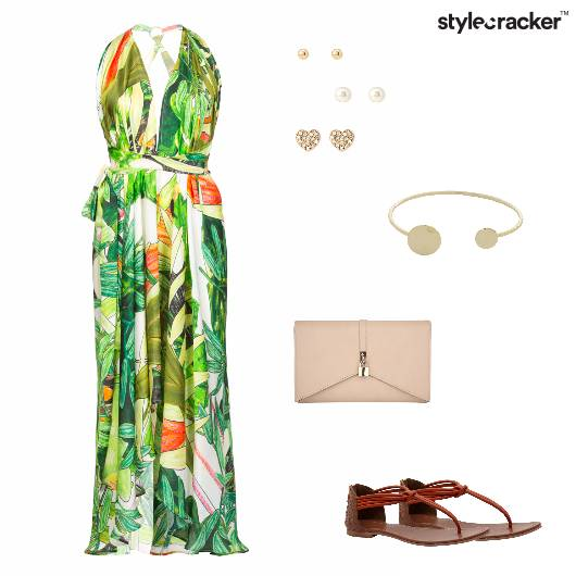Maxidress Tropical Thongflats Clutch  - StyleCracker