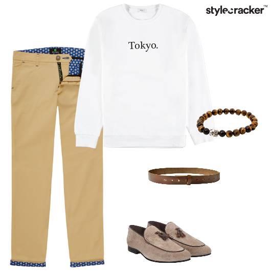 Sweatshirt Chinos Loafers Belt Bracelet Casual - StyleCracker