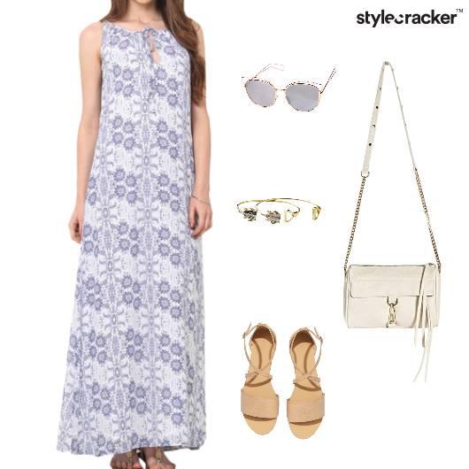Fluent Length Maxi Dress Flats Slingbag - StyleCracker