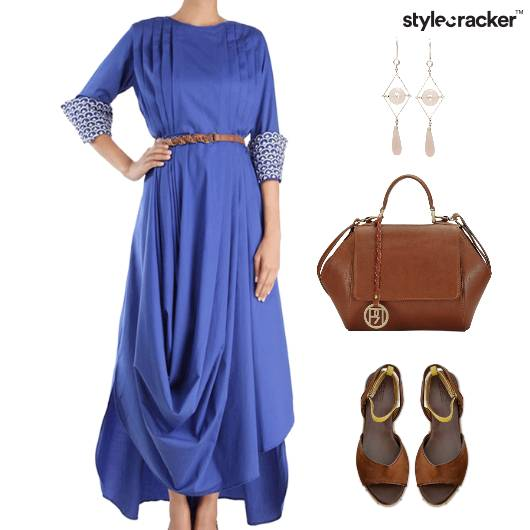 Drape Dress Flats Dangler Earring Lunch - StyleCracker