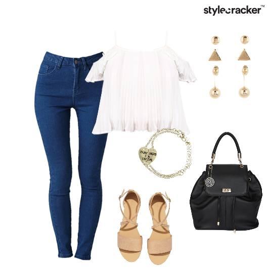 Coldshoulders jeans Backpack Flats Casual - StyleCracker
