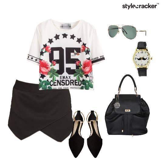 Top Skirt Flats Backpack Casual - StyleCracker