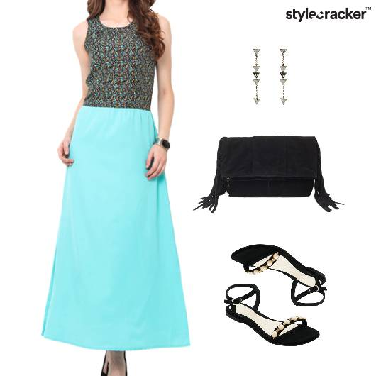 Printed Dress Flats Clutch Lunch - StyleCracker