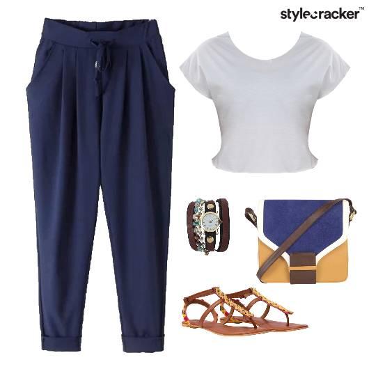 Drawstring Pants CropTop Flats SlingBag - StyleCracker