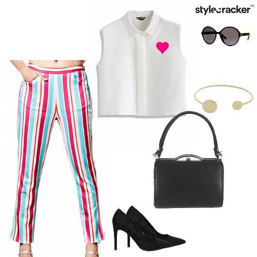 Croppedshirt Pants Pumps Striped Brunch - StyleCracker
