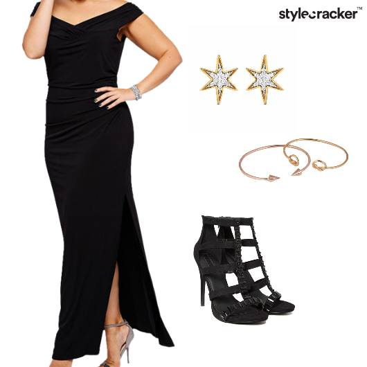 OffShoulder Slit Maxi Dress Night - StyleCracker