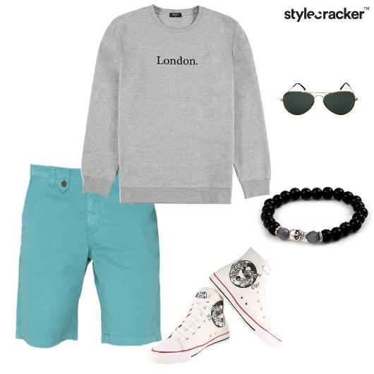 Sweatshirt Shorts BeadedBracelets  Hightops - StyleCracker