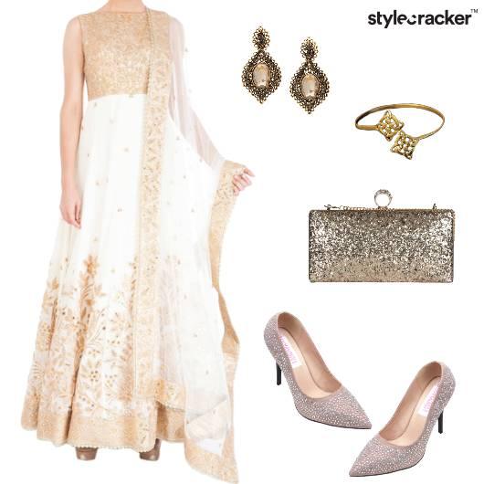 Anarkali Sequin Shimmer Indian Ethnic Wedding - StyleCracker