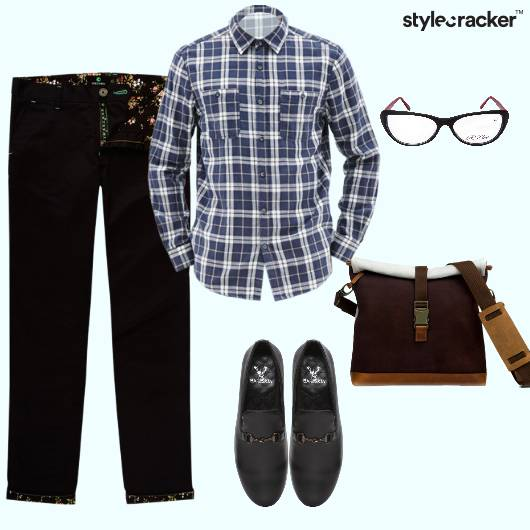 Plaidshirt Chinos Loafers Messengerbag Jacket Casual - StyleCracker