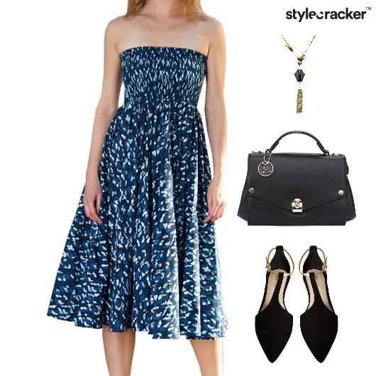 Abstract Print Dress Ballet Flats Accessories - StyleCracker