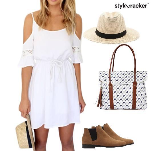 Dress Coldshoulder Boots Bag Hat Summer Beach - StyleCracker