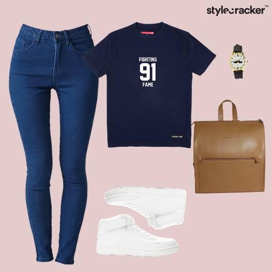TShirt BackPack Denim College Casual - StyleCracker