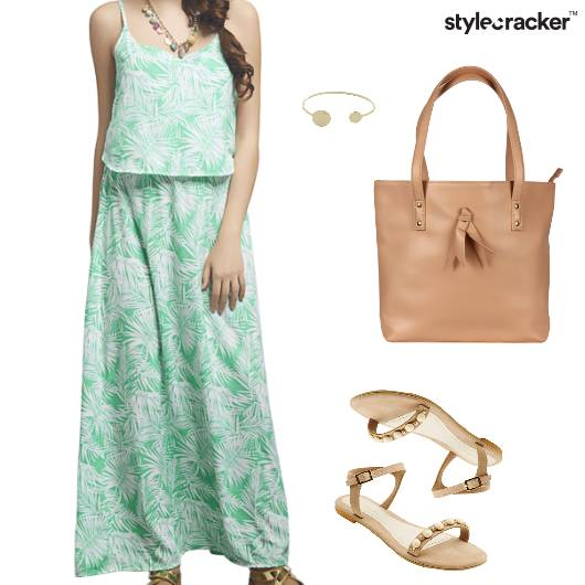 Printed Maxi Dress Tote Bag Flats - StyleCracker