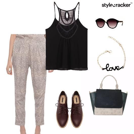 Cami Top Printed Pants Oxfords Bag Summer Work - StyleCracker