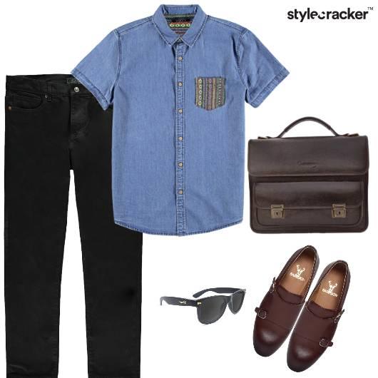 Denim Leather Bag Brogues Sunglasses Semi Formal  - StyleCracker