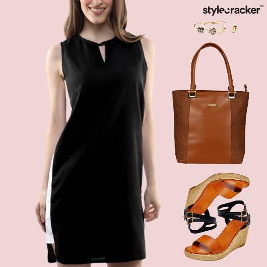 Shift Dress Wedge Heel Tote Bag - StyleCracker