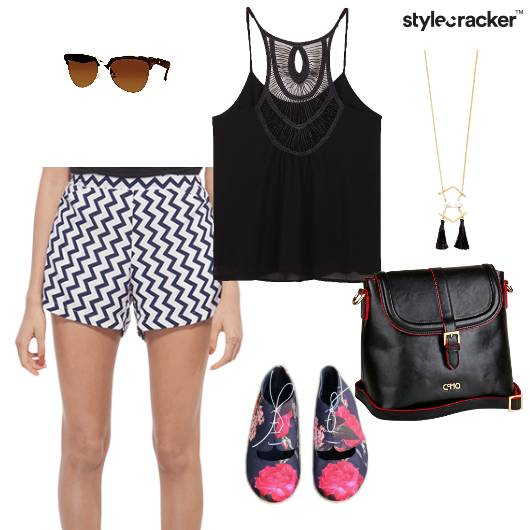 Cami Top Shorts Chevron Bag Travel Onthego - StyleCracker