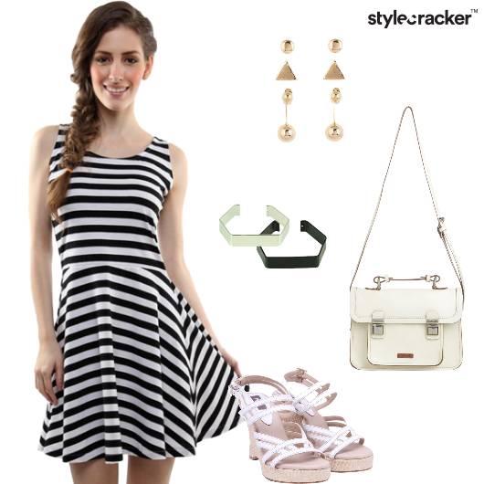 Dress Skater Stripes Slingbag Wedges Brunch - StyleCracker