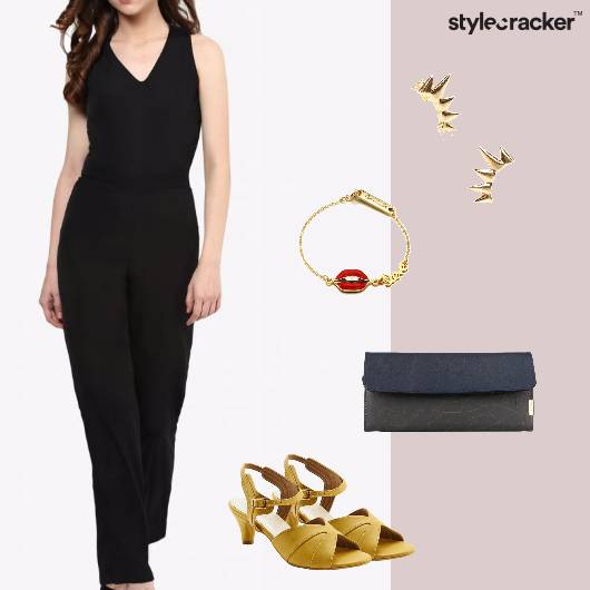 Jumpsuit Clutch KIttenheels Earrings Party - StyleCracker