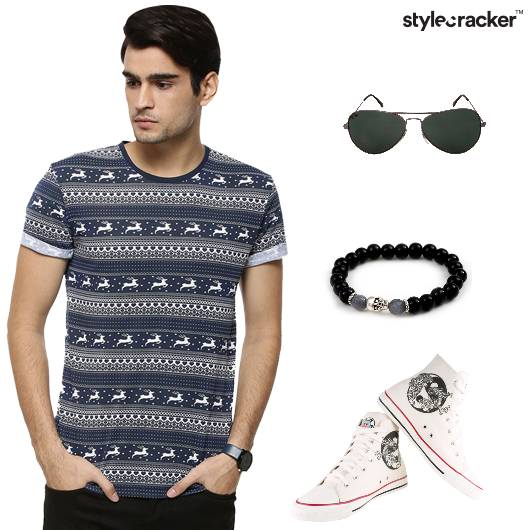 Printed Tshirt Shorts Hightops BeadedBracelet Casual - StyleCracker
