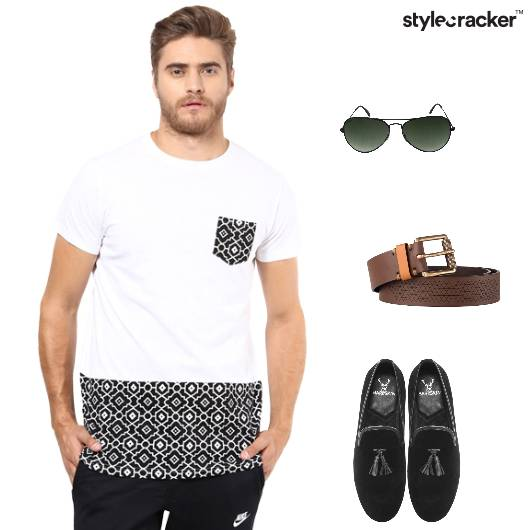 Tshirt Chinos Loafers Belt Aviators - StyleCracker