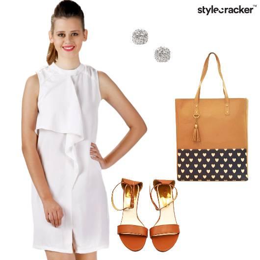 Dress Ruffles Flats Handbag Work  - StyleCracker