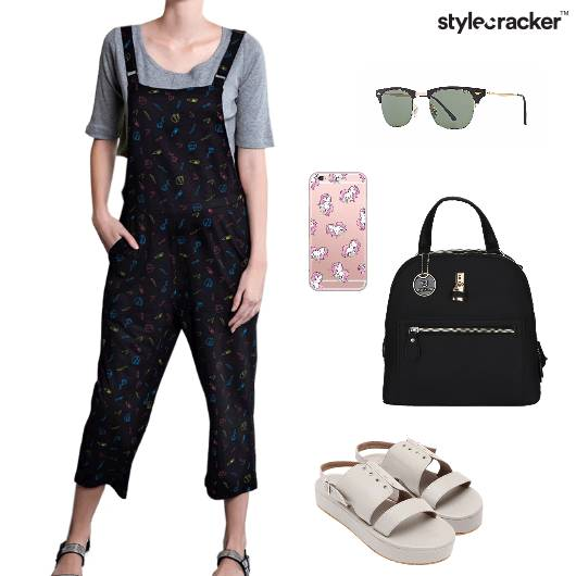 Jumpsuit Croptop Flatforms Backpack Casual - StyleCracker