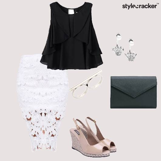 Top PencilSkirt Lace Slingbacks Clutch Party - StyleCracker