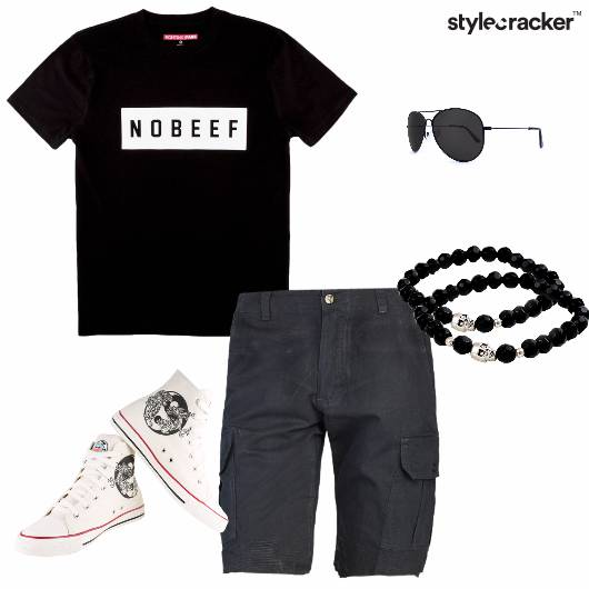 Tshirt Shorts Hightops Casual - StyleCracker