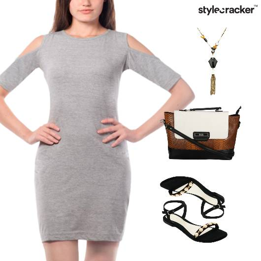 Bodycon Dress Cutwork Crossbody Bag Flats - StyleCracker