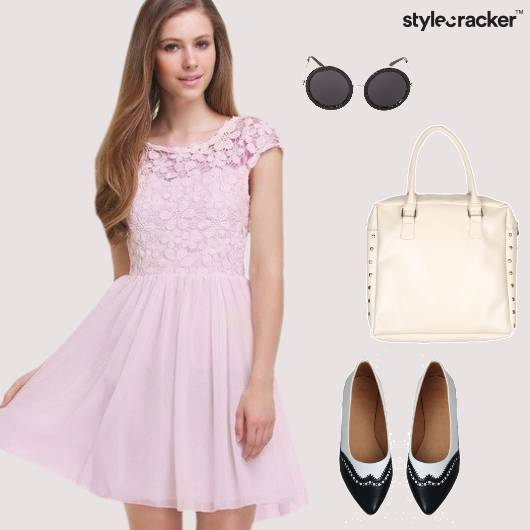 Dress Fitandflare Balletflats Bag Roundframe Sunglasses Brunch - StyleCracker
