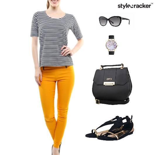 Stripe Casual Tshirt Flats Lunch - StyleCracker