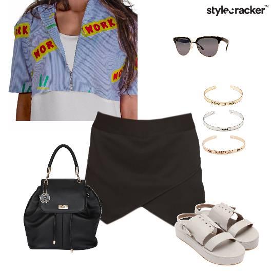 Croptop skort patchwork casual - StyleCracker