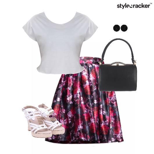 Pleats Skirt Wedge Footwear Floral  - StyleCracker